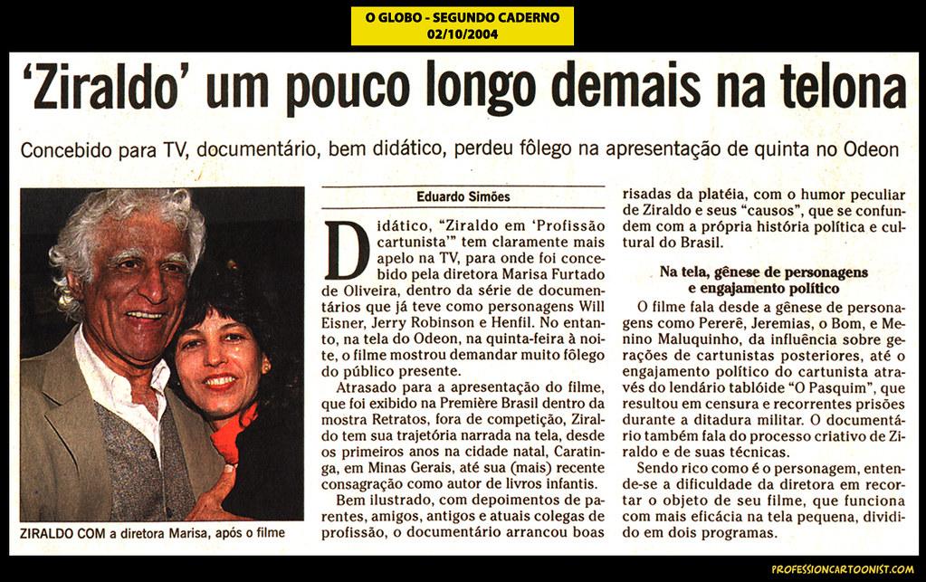 """Ziraldo um pouco longo demais na telona"" - O Globo - 02/10/2004"