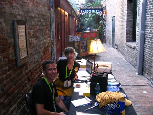 Eric and Julie at the merch table