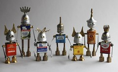 found object robot assemblage sculptures by brian marshall