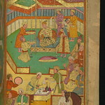 Illuminated Manuscript, Collection of poems (masnavi), A court scene with food and music, Walters Art Museum Ms. W.626, fol. 100b