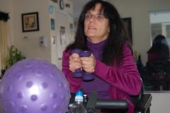 Anastasia Papadopoulos exercises at HOPEFitness in North Bellmore, N.Y.