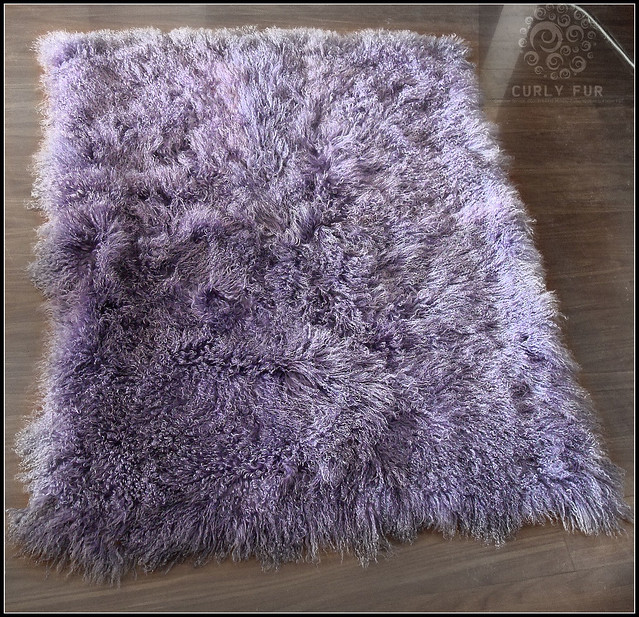 Tibetan/ Mongolian Lamb Fur Rug Purple
