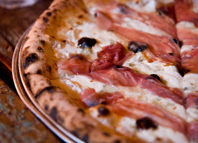 Cherry Jones pizza (fior di latte, gorgonzola, prosciutto, and orange blossom honey), Paulie Gee's