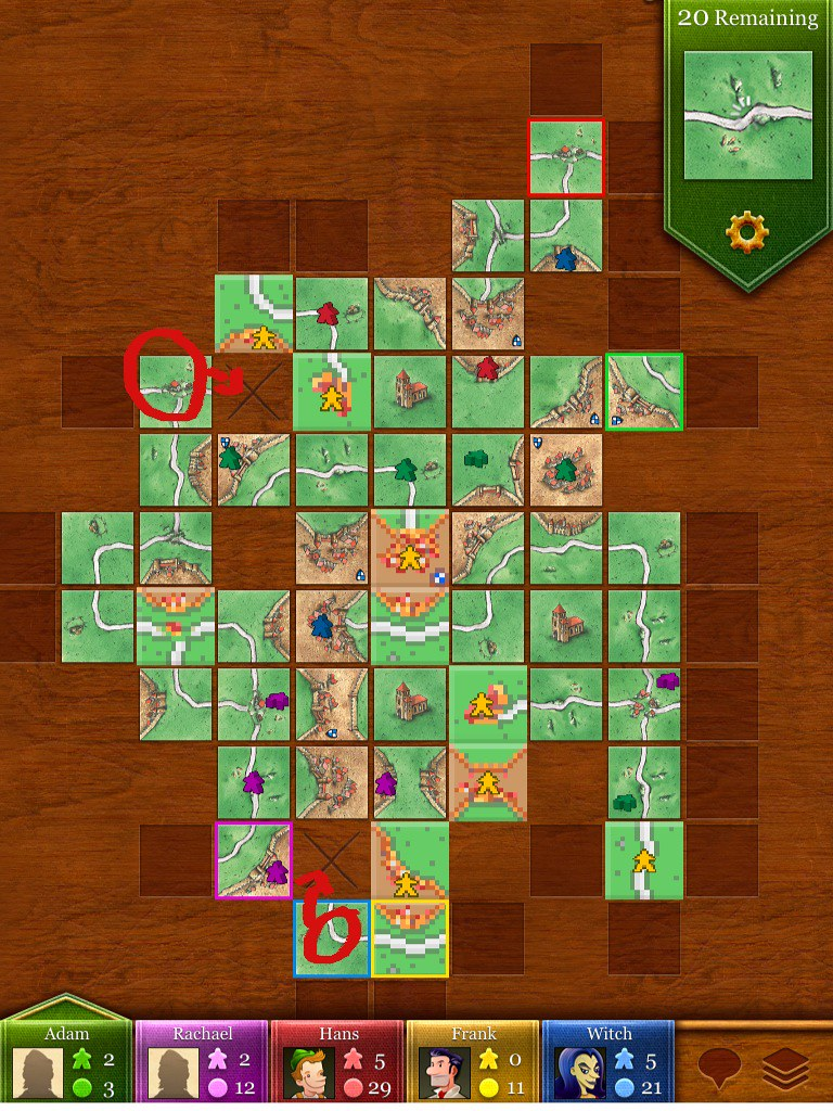 Carcassonne for iPad - Witch computer player is evil