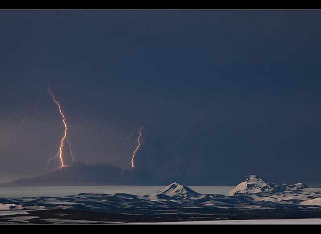 Lightning Strikes - Grímsvötn Eruption, Vatnajökull, Iceland