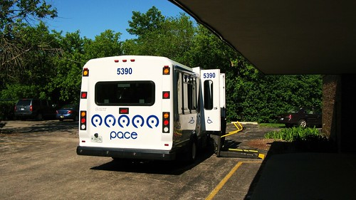 First Transit Ford paratransit bus at the North Shore School on Church Street. Evanston Illinois USA. June 2011. by Eddie from Chicago