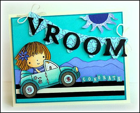 new car congratulations penny black mimi stamp colored. Black Bedroom Furniture Sets. Home Design Ideas