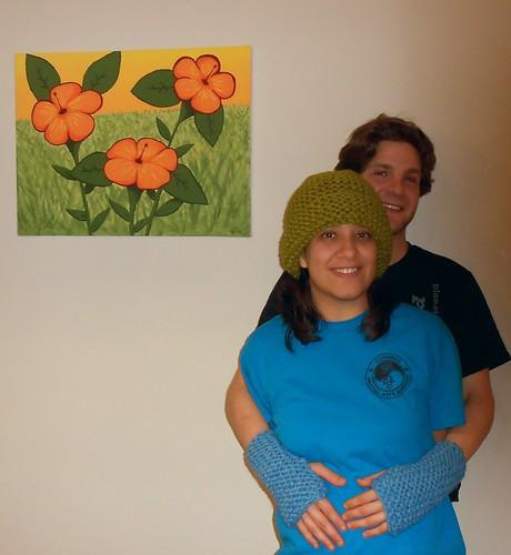 Katie and Aaron with my Garter Stitch Cuffs and Garter Stitch Hat