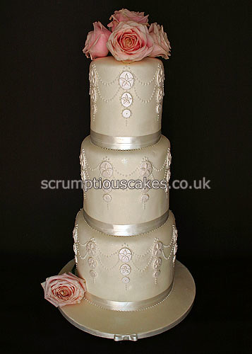 Wedding Cake 705 Double Height With Piping And Fresh Roses