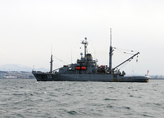 HACHINOHE, Japan (March 25, 2011) The Recovery and Salvage ship USS Safeguard (T-ARS-50) is currently in the waters of Hachinohe, Japan to assist salvage recovery efforts in support of Operation Tomodachi. (U.S. Navy photo by Mass Communication Specialist 2nd Class Devon Dow/Released)