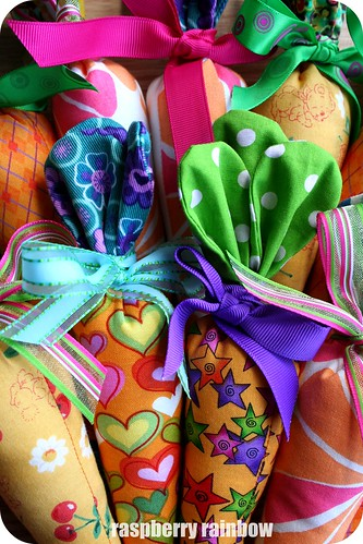 Fabric Carrots with ribbons.