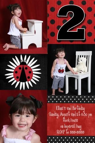 Red Black Ladybug 2nd Birthday Invitation