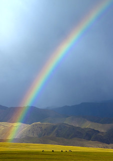 Rainbow On The Steppe, Saralasaz Jailoo, Kyrgyzstan