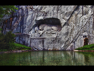Image of Lion Monument. sculpture monument rock stone switzerland europe sad lion olympus frenchrevolution lucerne zuiko marktwain 1792 mournful 18180mm e620