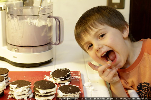 making a special black & white birthday cake for his mom's birthday