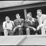 Jimmy Foxx, Joe DiMaggio, Lou Gehrig, and Bill Dickey in Fenway dugout
