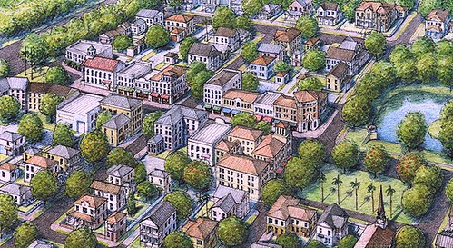 a commercial center is at the heart of the walkable neighborhood shown in this conceptual rendering (courtesy of Dover Kohl Town Planners)