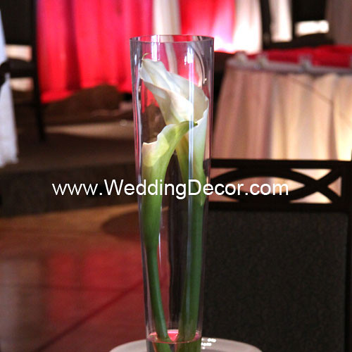 Pilsner vase wedding centerpiece with 2 simple calla lilies