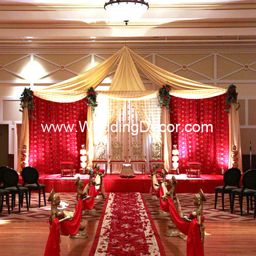 A wedding mandap in red gold and ivory with aisle decorations and rose & Careceu0027s blog: Awesome Arrangement of Wedding Flower Design Ideas 1 ...