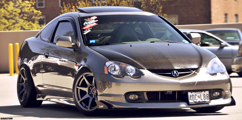 acura rsx dc5 carbon fiber hood slammed MB battle wheels rims 17's