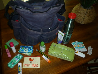 purse contents (or, parent pockets of the diaper bag contents)