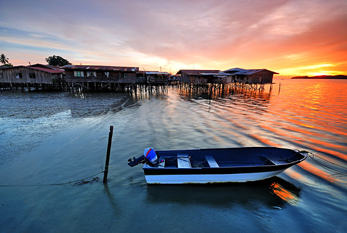 Boat at Sunset - Tanjung Aru Stilt Village