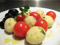 potato and tomato genus, mozzarella, food, dish, cuisine,