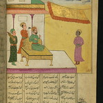 Illuminated Manuscript, Collection of poems (masnavi), A colored slave, washed and shaved, stands in front of the king, Walters Art Museum Ms. W.626, fol. 66b