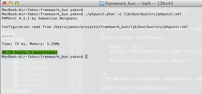 PHPUnit success tests on Bun Framework