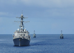 In this file photo, Philippine Navy ships BRP Rizal (PS 74) and BRP Pangasinan (PS 31) join the guided missile destroyers USS Howard (DDG 83) to conduct maneuvers in the Sulu Sea July 4 during the Philippines phase of exercise Cooperation Afloat Readiness and Training (CARAT) 2011. (U.S. Navy photo by Mass Communication Specialist 2nd Class Katerine Noll)