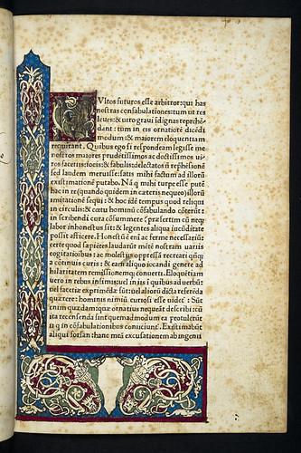 Decorated page in Poggius Florentinus: Facetiae