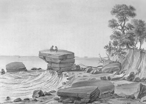 View of Inscription Rock on South side of Cunningham Island, Lake Erie