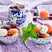 Salad with apricots, cherries and meringues