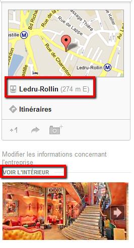 Google Adresses - transports et vue intérieure