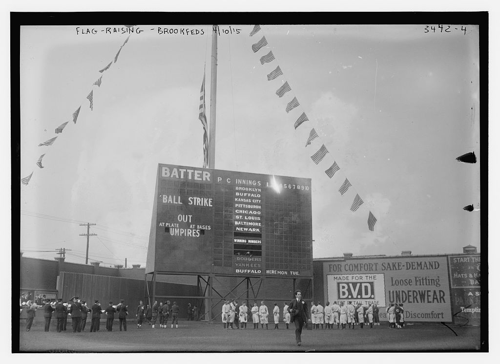 [Washington Park, Brooklyn - flag-raising, 4/10/15 (baseball)]  (LOC)
