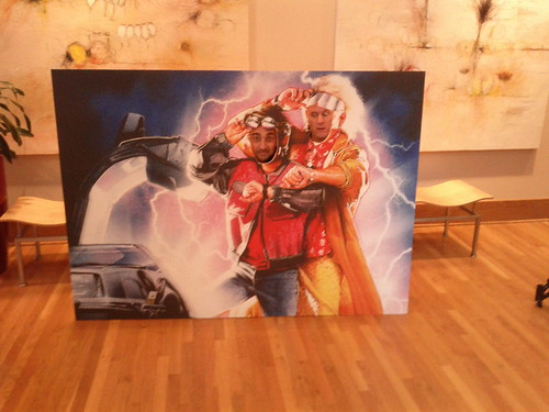 Picture of Robi Ganguly and Sky Kelsey posing in a Back to the Future cutout of Marty McFly and Doc
