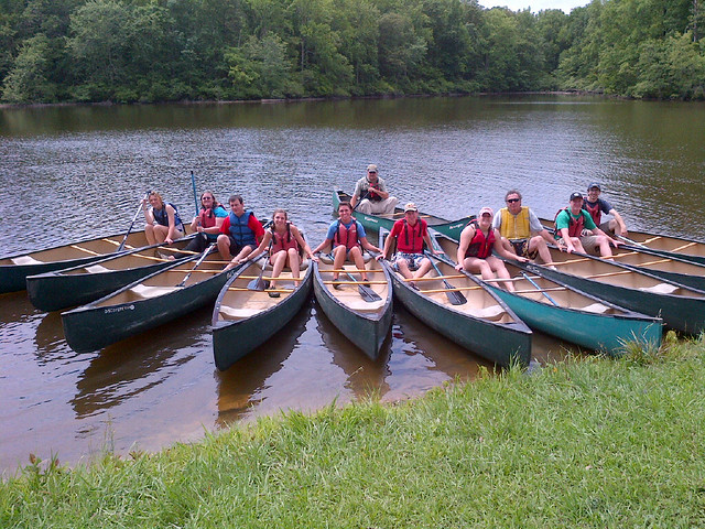 Virginia State Parks staff from central Virginia attend canoe training