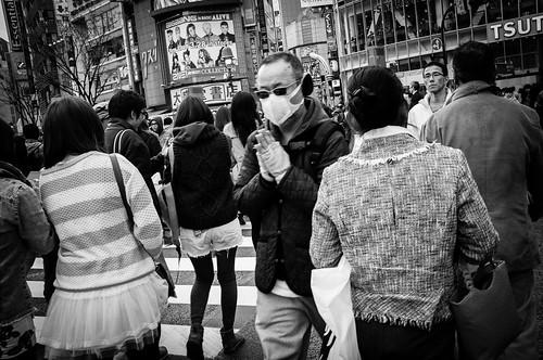 The praying man, Shibuya Crossing, Tokyo 2012