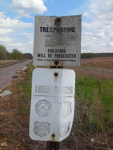 C&NW Green Bay-Manitowoc RR no trespassing
