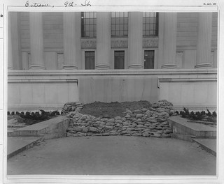 Photograph of a Flood Protection Barricade at the National Archives Building 9th Street Entrance, 03/19/1935