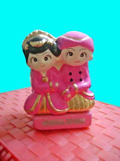 souvenir gypsum tempat pensil pengantin  jawa depan