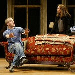Nat DeWolf as Larry and Anne Torsiglieri as Anna share a New York loft and the aftermath of their roommate's untimely death in Huntington Theatre Company's production of Lanford Wilson's Burn This at the BU Theatre/Avenue of the Arts. Part of the 2004-2005 season. Photo: T. Charles Erickson