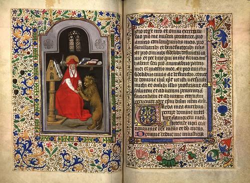 015-San Jerónimo y el león herido-Fol. 151 verso-Heures d'Isabeau de Roubaix- Bibliothèque numérique de Roubaix  MS 6
