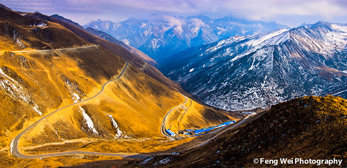 china road travel sky terrain mountain snow cold color tourism beautiful beauty horizontal landscape scenery colorful asia view outdoor scenic journey summit vista aba tibetan winding sichuan breathtaking balang gettychinaq2