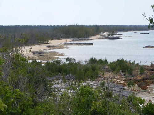 Rocky, shallow shoreline