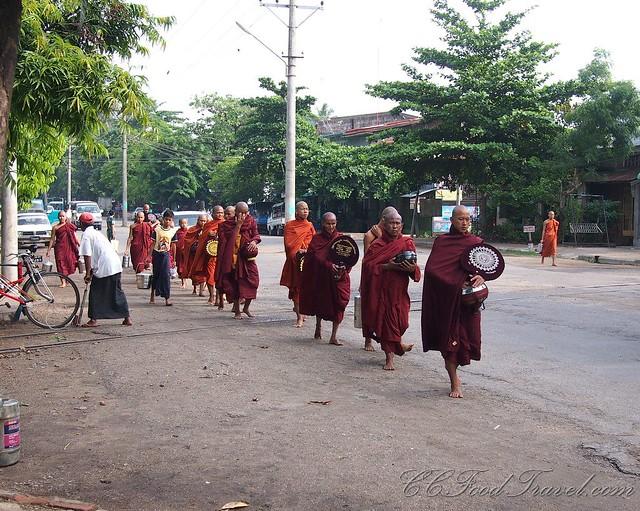 Monks in the morning, going about their merry way