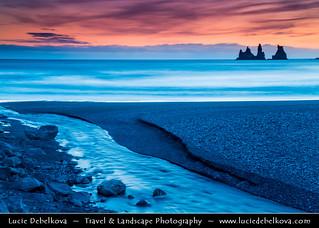 Iceland - Vik i Myrdal Area - Reynisdrangar - Rock Formation on the Beach of Atlantic Ocean at Sunset