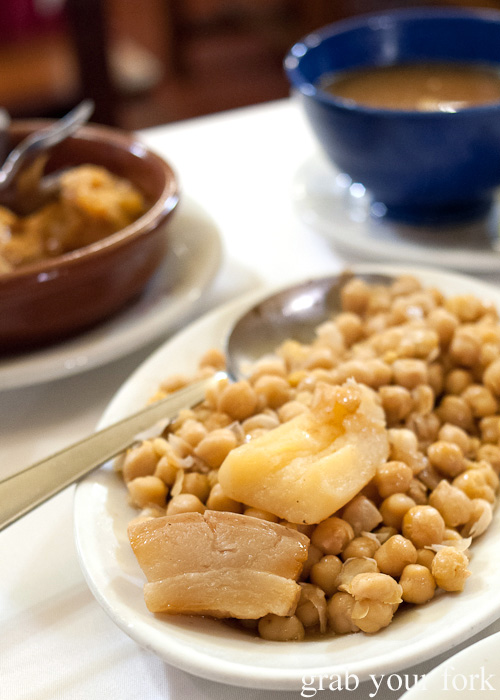 The charm of the Castilian chickpea with fatty salt pork and serious boiled potato from Malacatin restaurant in Madrid, Spain