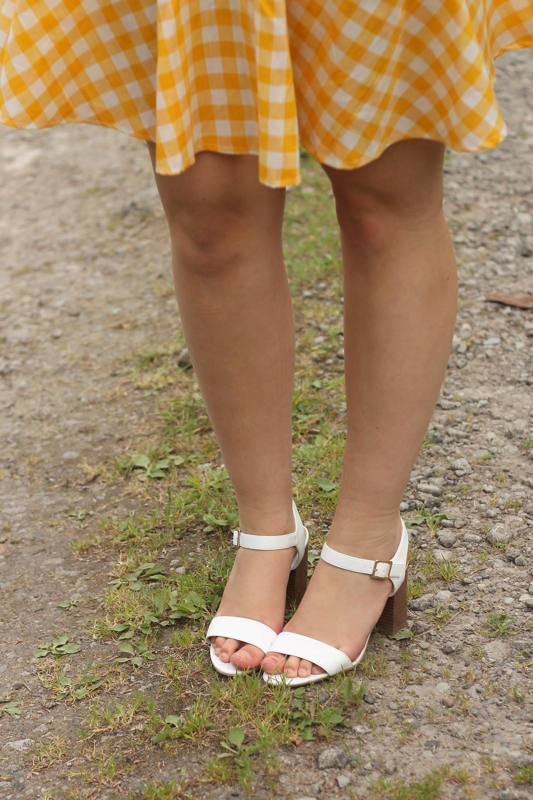 white sandals & circle skirt