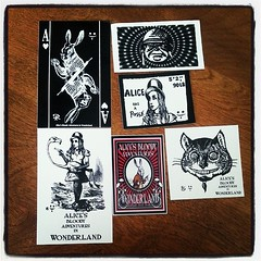Some nice vinyl Alice stickers, booldy adventures in wonderland